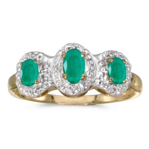 10k Yellow Gold Oval Emerald And Diamond Three Stone Ring (Size 7)