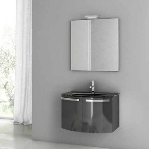 ACF by Nameeks ACF CD01-GA Crystal Dance 28-in. Single Bathroom Vanity Set - Glossy Anthracite