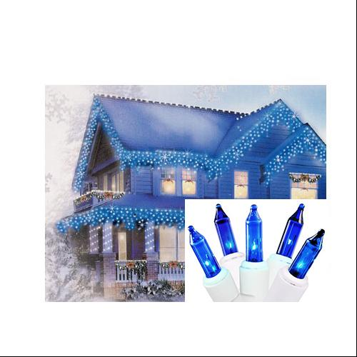 "Set of 100 Royal Blue Mini Icicle Christmas Lights 2.5"" Spacing - White Wire"