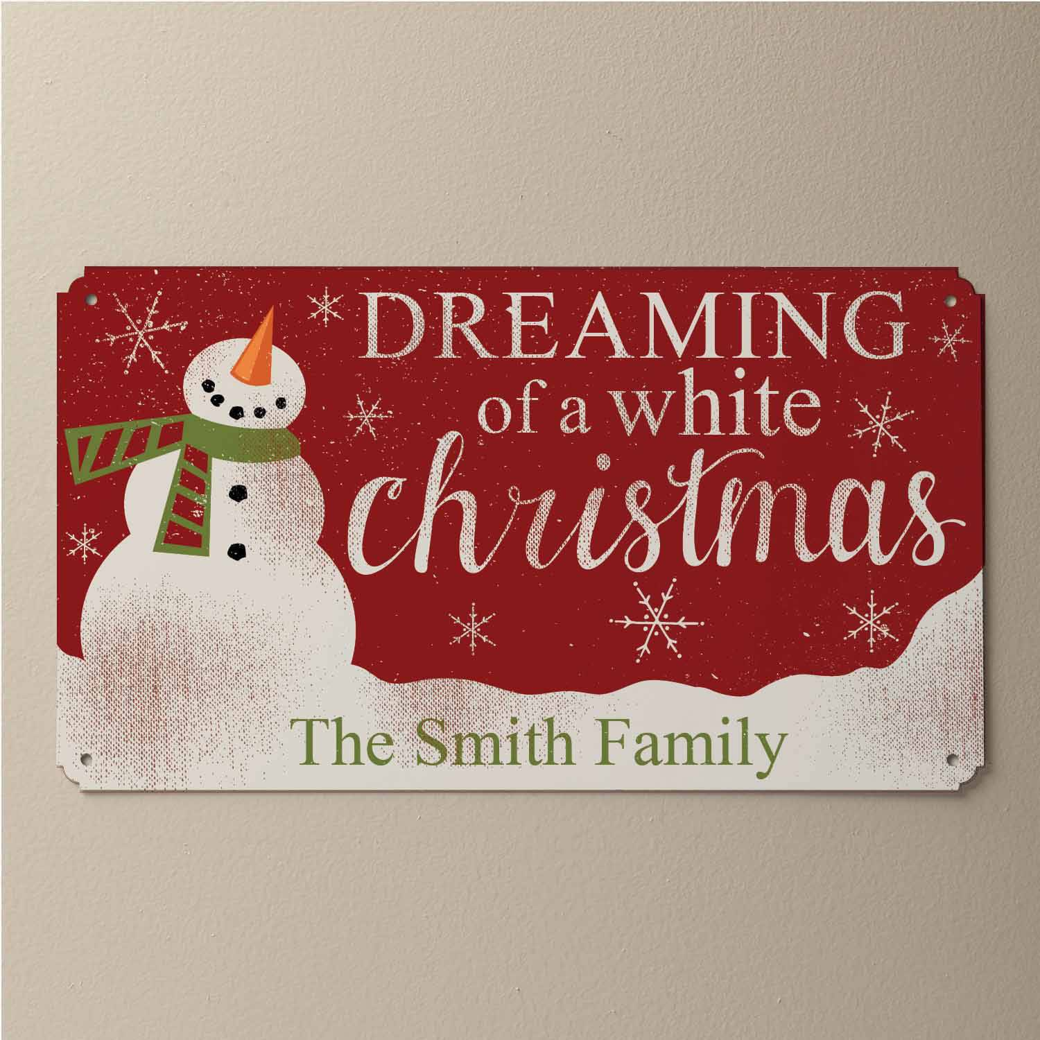 Personalized Dreaming Of A White Christmas Tin Sign