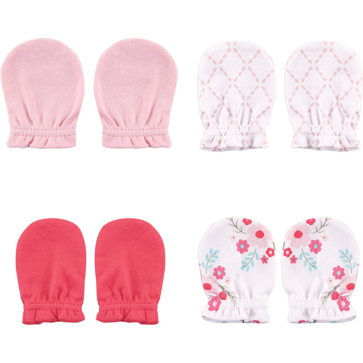 Luvable Friends Newborn Baby Girls Scratch Mitten 4-Pack - Floral, 0-6 months