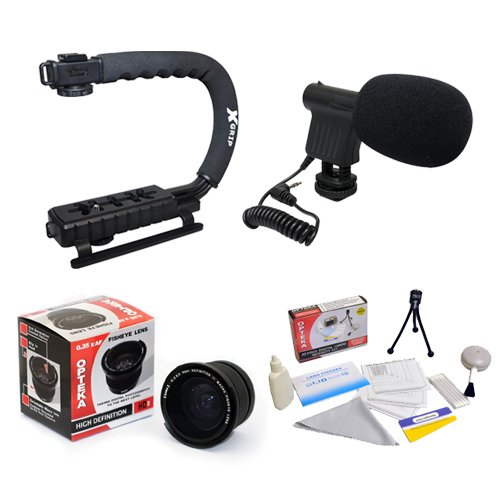 Extreme Shooters Kit Featuring Opteka HD 0.35x Wide Angle Panoramic Macro Fisheye Lens, Opteka X-GRIP Camera Handle, Opteka VM-8 Mini-Shotgun Microphone and More for Nikon D4, D3X, D3, D800, D700