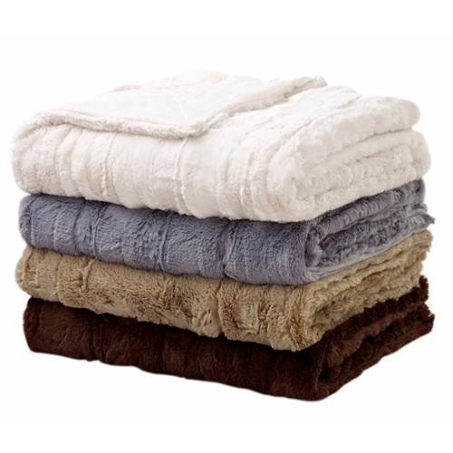 "Luxe Embossed Faux Fur Throw Faux Mink Brown - (50""x60"")"