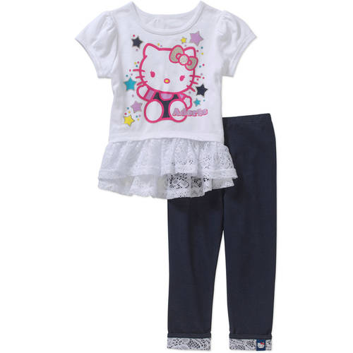 Hello Kitty Toddler Girls' Ruffled Tee and Knit Denim Pants Outfit Set