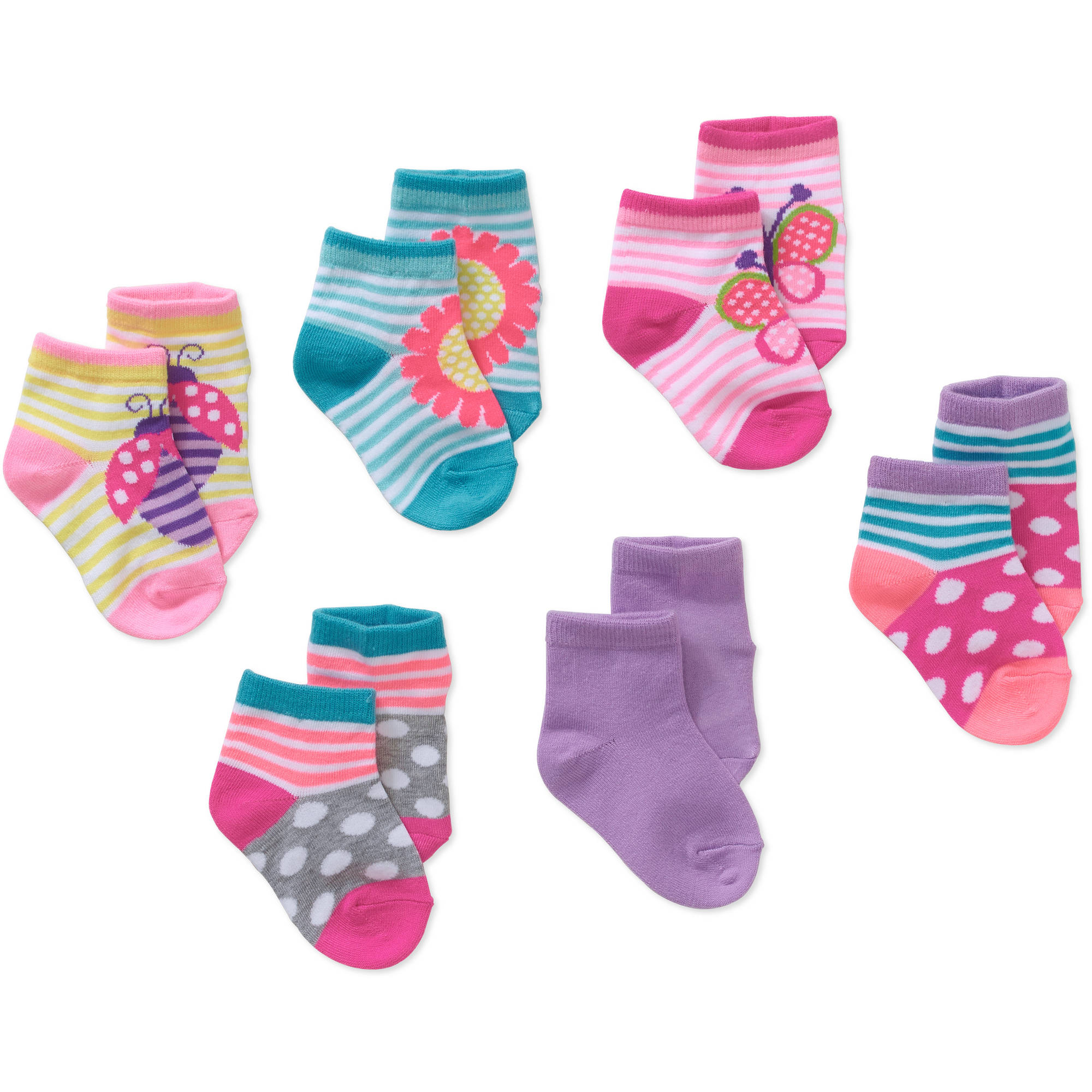 Garanimals Newborn to Toddler Baby Girl Shorty Butterfly Print Socks, 6-Pack Ages 0-5T