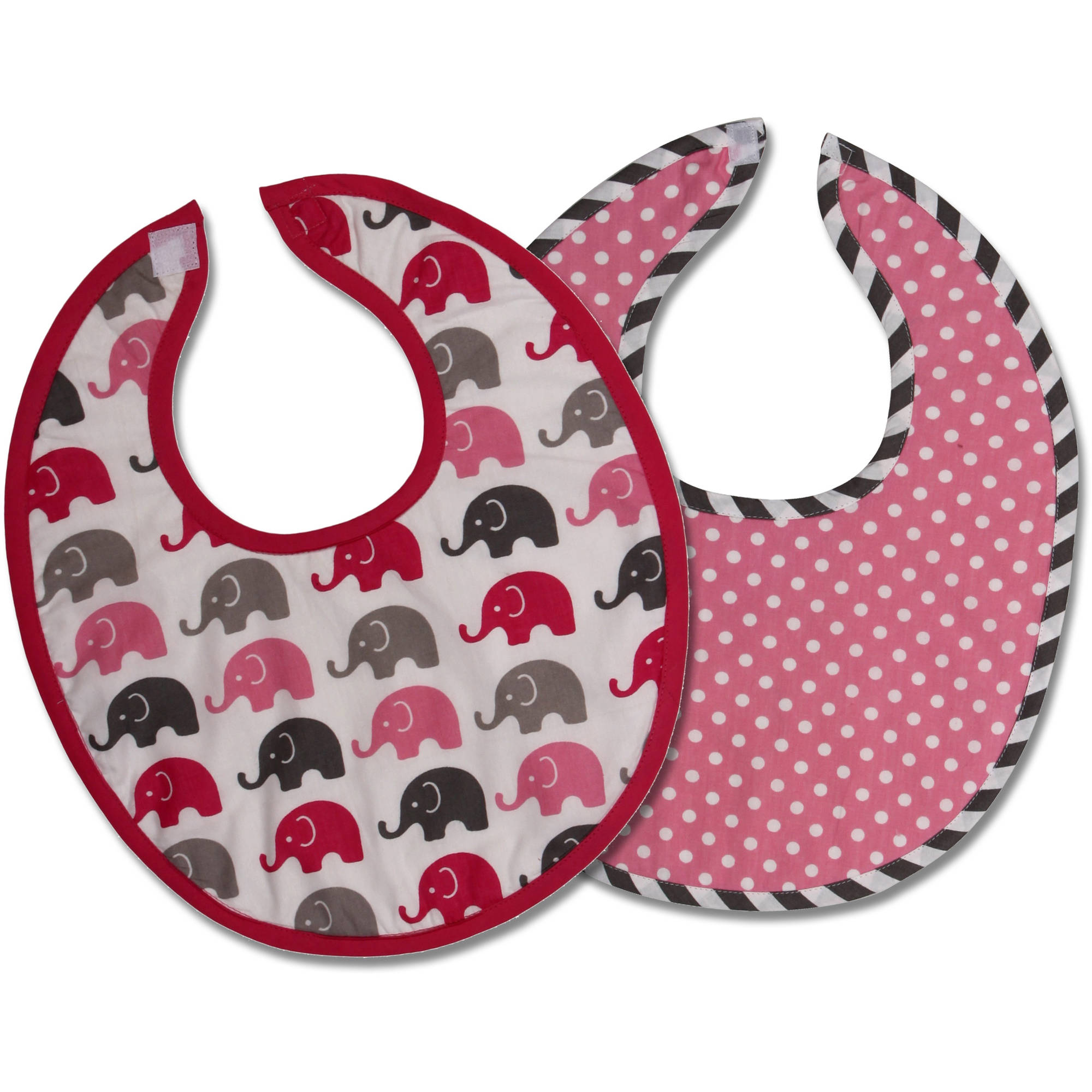 Bacati Elephants Bibs, Set of 2 (Choose Your Color)