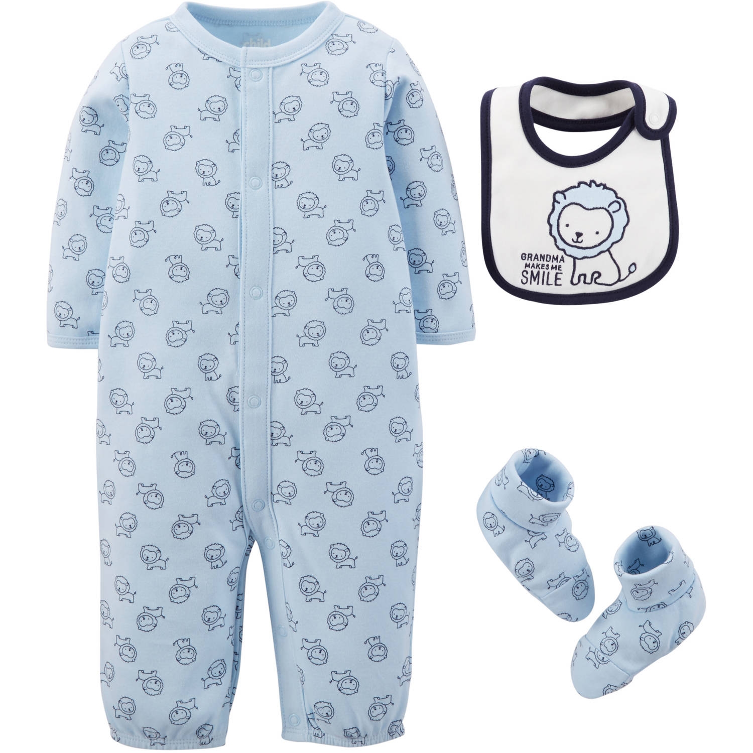 Child Of Mine By Carter's Newborn Baby Boy Convertagown, Bib & Bootie 4 Pc Set