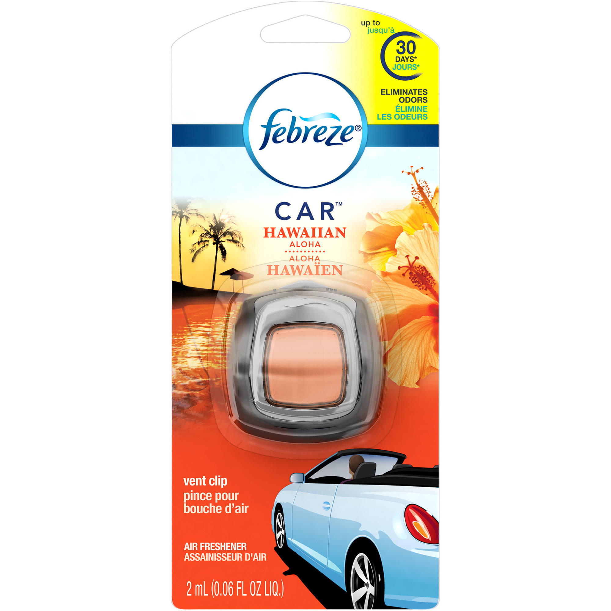 Febreze Car Vent Clips Air Freshener Hawaiian Aloha 2 ml