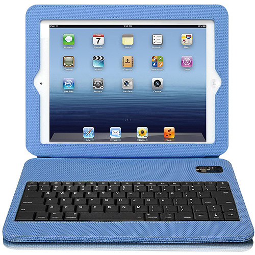 Aluratek Ultra-Slim Non-Slip Grip Folio Case with Keyboard for iPad 2/3/4, Blue