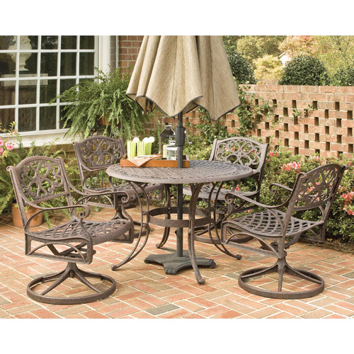 "Home Styles Biscayne 5 Piece 48"" Round Dining Set with Swivel Chairs, Multiple Finishes"
