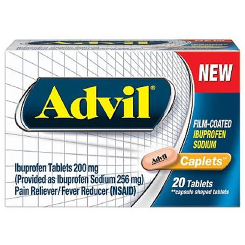 Advil Film-Coated Ibuprofen 200 mg Caplets 20 ea (Pack of 3)