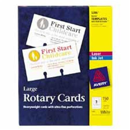Avery Consumer Products AVE5385 Laser-Inkjet Rotary Cards- 2-. 13inchx4inch- White