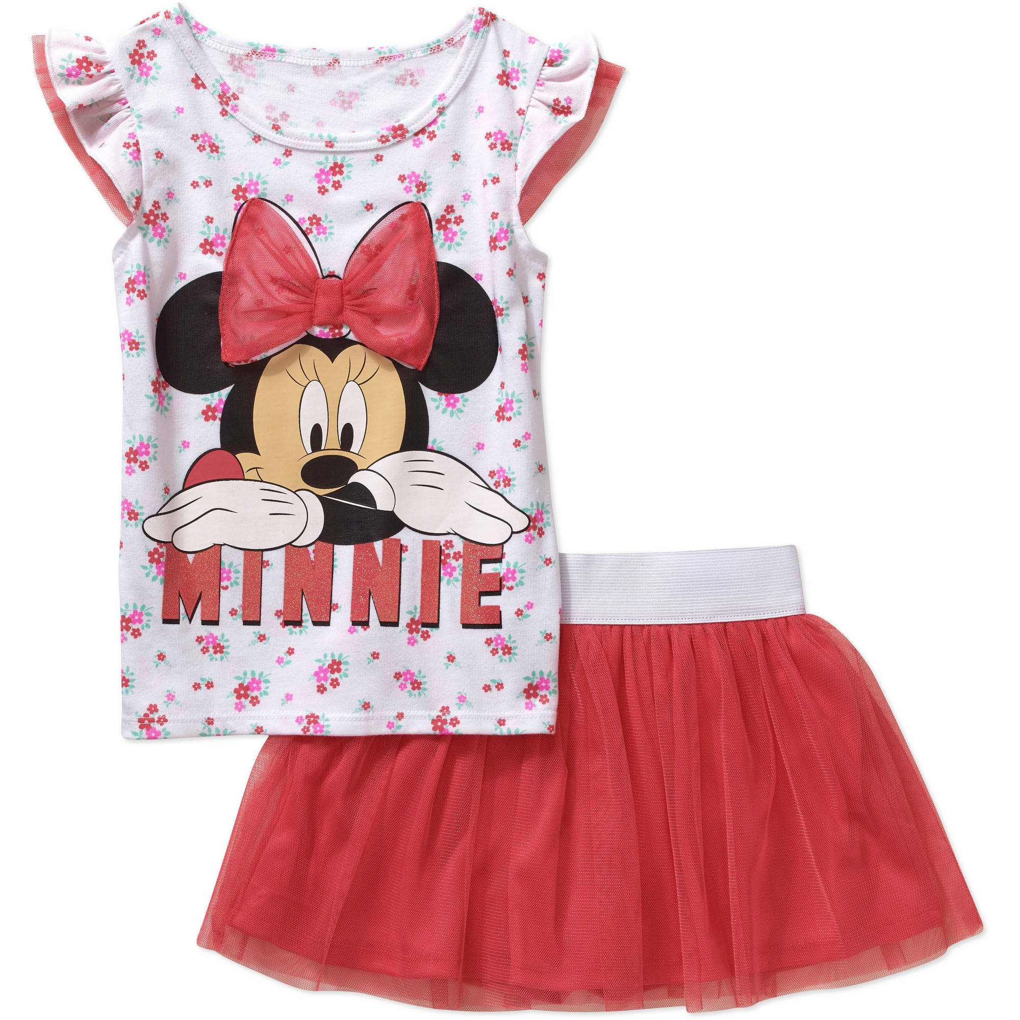 Minnie Mouse Toddler Girl Tee and Skirt Outfit Set