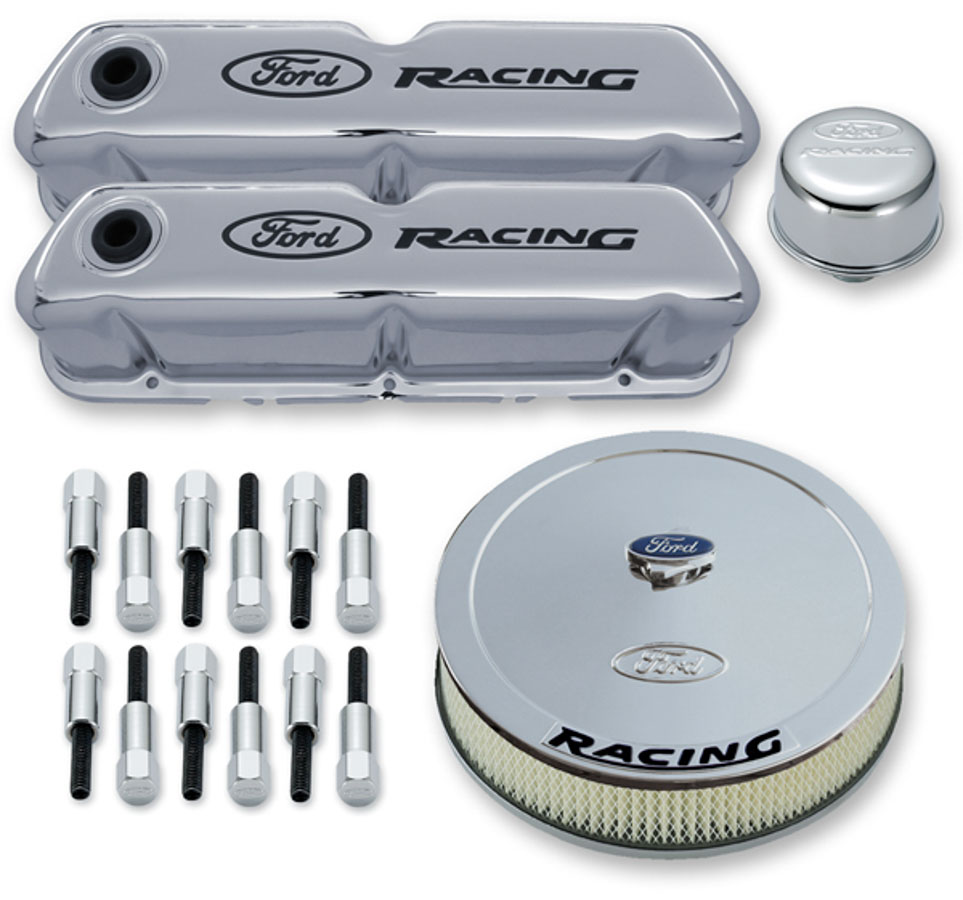 PROFORM SBC Recessed Ford Racing Logo Chrome Engine Dress Up Kit P/N 302-510