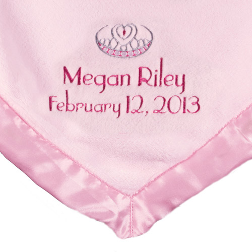 Personalized Satin Trim Pink Baby Blanket, Name, Date and Crown