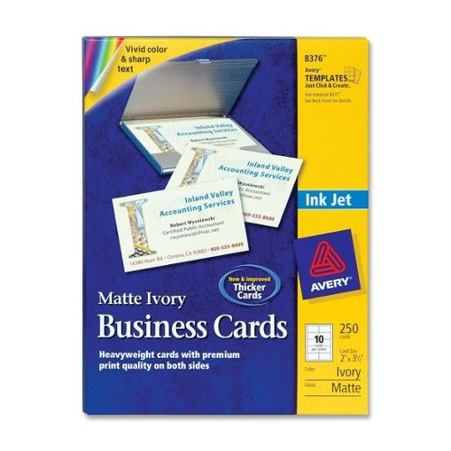 "Avery Business Card - A8 - 2"" x 3.50"" - Matte - 250 / Pack - Ivory"