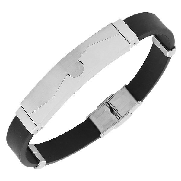 Stainless Steel Black Rubber Silicone Silver-Tone Mens  Bracelet with Clasp