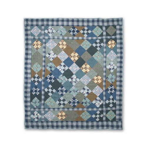 Patch Magic Chambray Nine Patch Cotton Throw Quilt