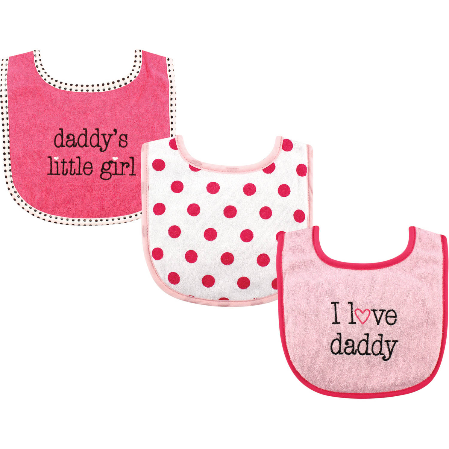 Luvable Friends I Love Drooler Bib 3pk, Girl Daddy