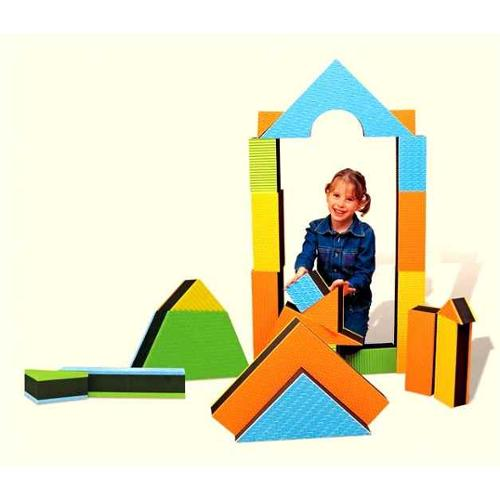 Jumbo 2.5-Inch Textured Building Blocks Set in Assorted Shapes - Set of 32