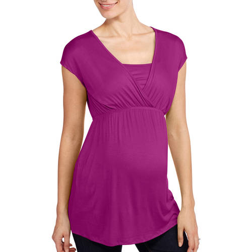 Planet Motherhood Maternity Empire Waist Surplice Tee--Easy For Nursing