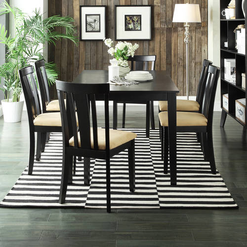 "Lexington 7-Piece 60"" Width Table Dining Set with Slat-Back Chairs, Black"