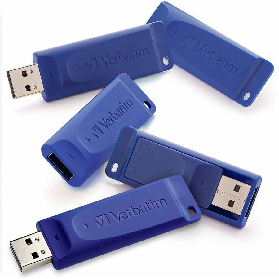 Verbatim 8GB USB Flash Drive, Blue, 5pk