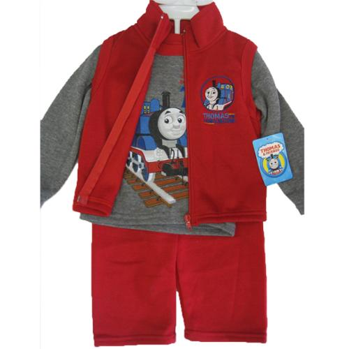 Thomas and Friends Little Boys Gray Red Train Print Vest Shirt 3 Pc Pants Set 12M