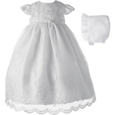 Christening Baptism Newborn Baby Girl Special Occasion Organza Floral Embroidered Dress Gown Outfit w/ Pearl Trim