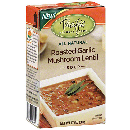 Pacific Natural Foods Roasted Garlic Mushroom Lentil Soup, 17.6 oz (Pack of 12)