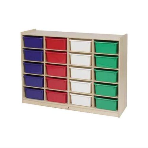 Tub Storage Cabinet in Natural Finish (25 Storage with Colored Trays)