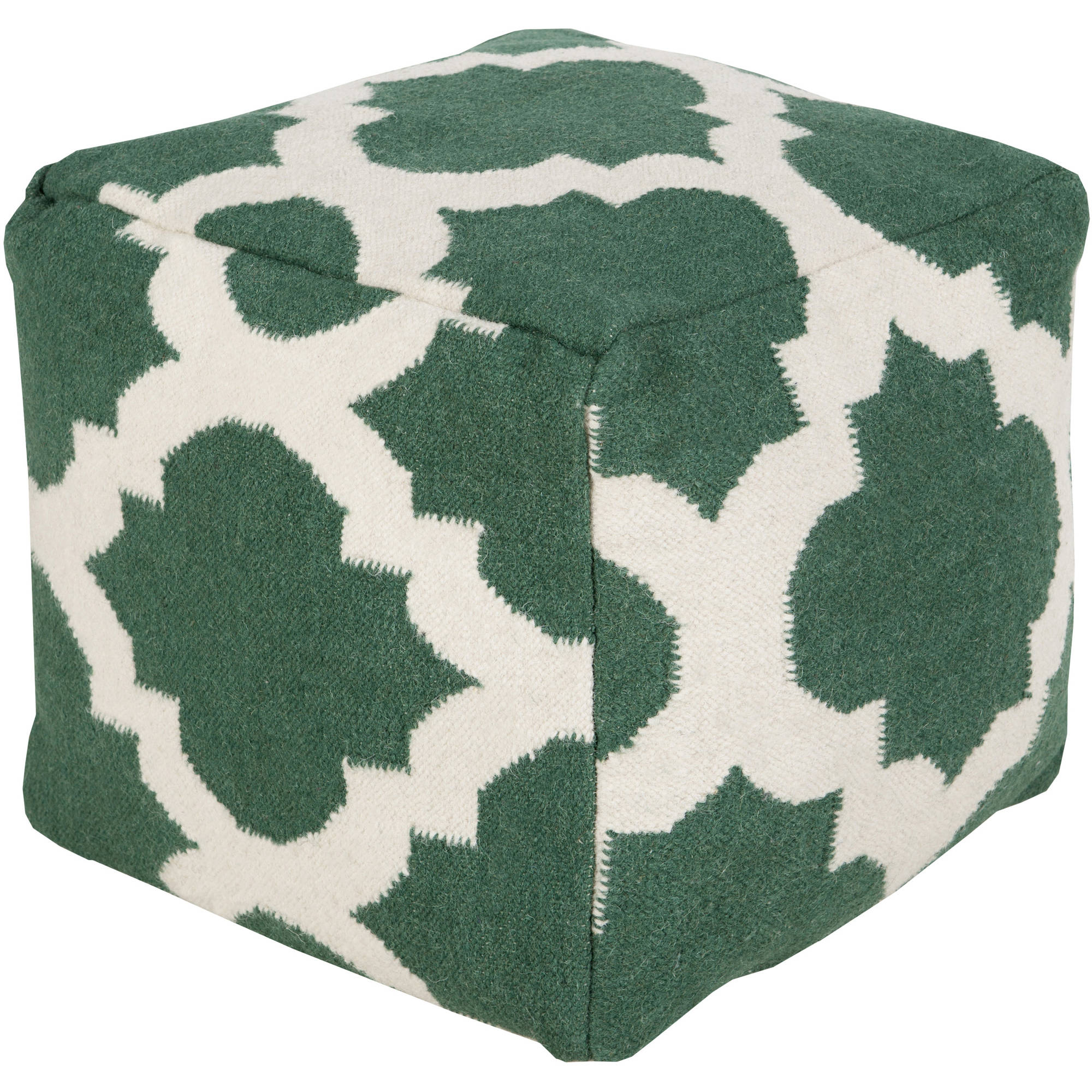 Libby Langdon Moroccan Hand Made Geometric Wool Decorative Pouf