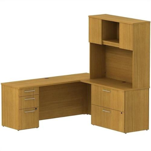 "Bush BBF 300 Series 72"" L-Shaped Desk with Hutch in Modern Cherry"