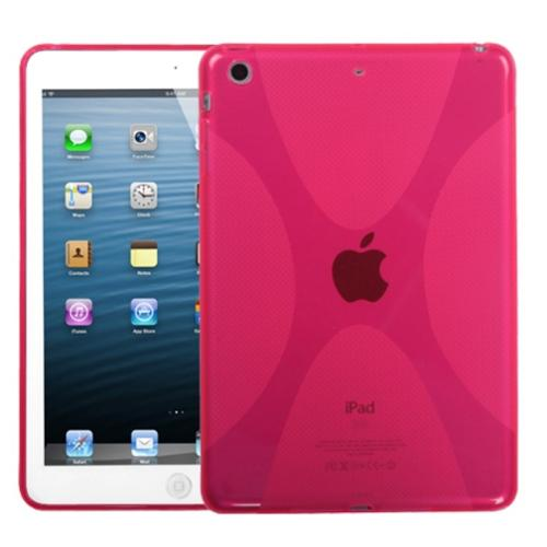 Insten Rubber TPU X-Shape Designer Case Cover for iPad Mini 3 2 1 - Hot Pink