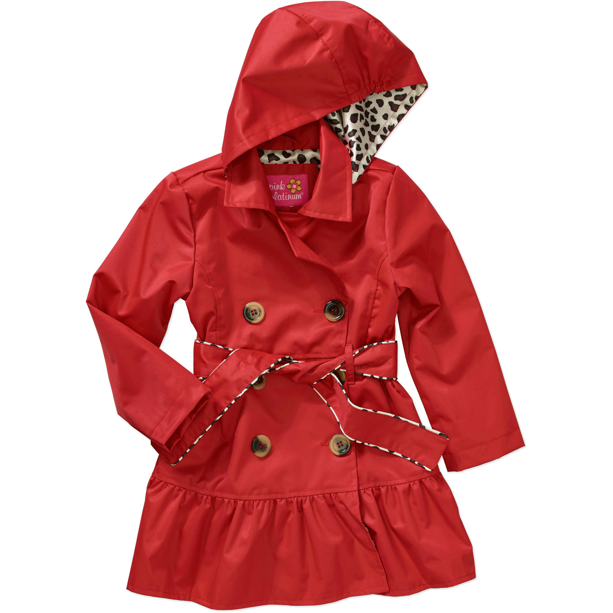 Pink Platinum Toddler Girl Tie Waist Ruffled Lined Lightweight Trenchcoat Jacket
