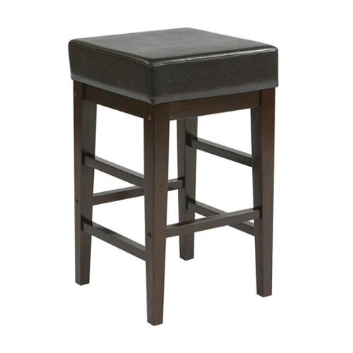 Square Stool-Color:Espresso,Height:25""