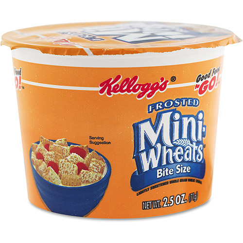 Kellogg's Frosted Mini-Wheats Bite Size Cereal Cups Single Serve (6 Single Serve Packs)