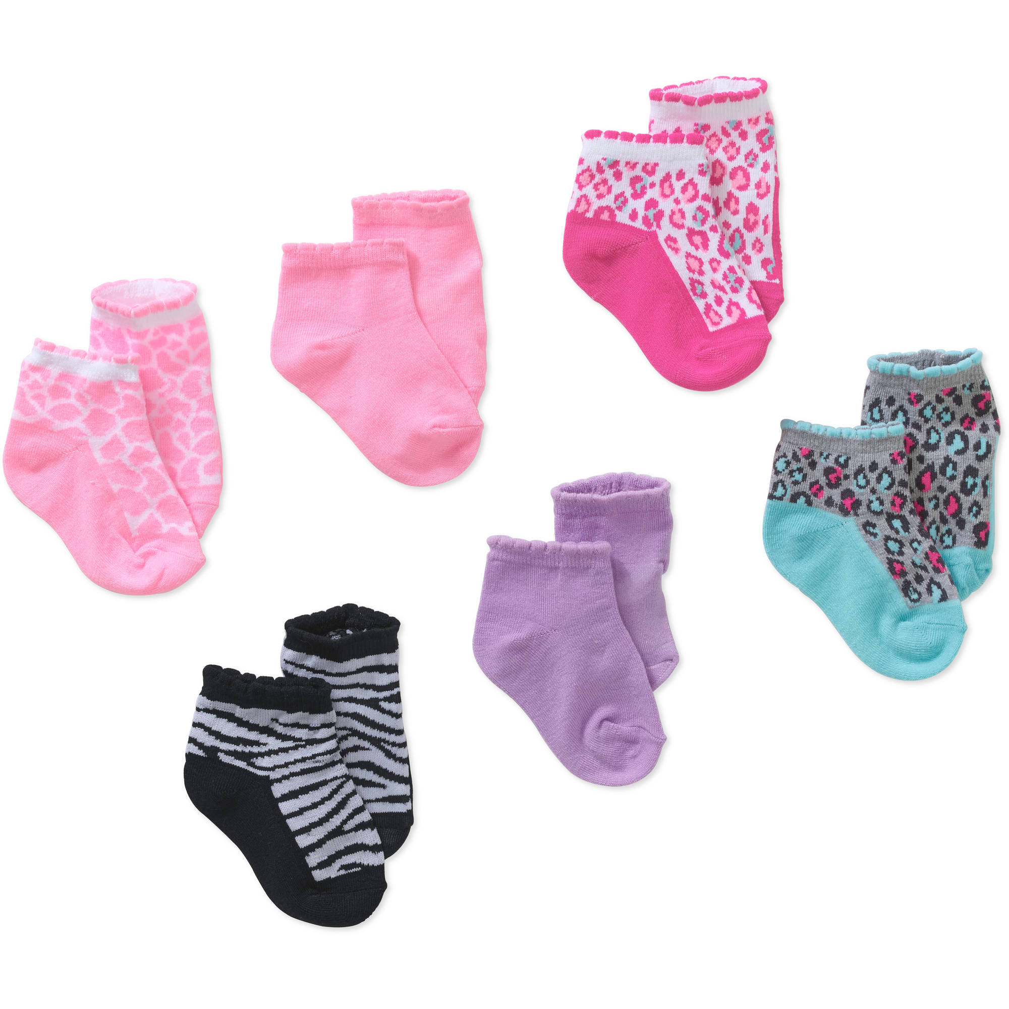 Garanimals Newborn to Toddler Baby Girls' Shorty Animal Print Socks, 6 Pack