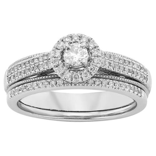 Sofia 10k White Gold 1/2ct TDW White Diamond Bridal Set (H-I, I1-I2) size 8.5
