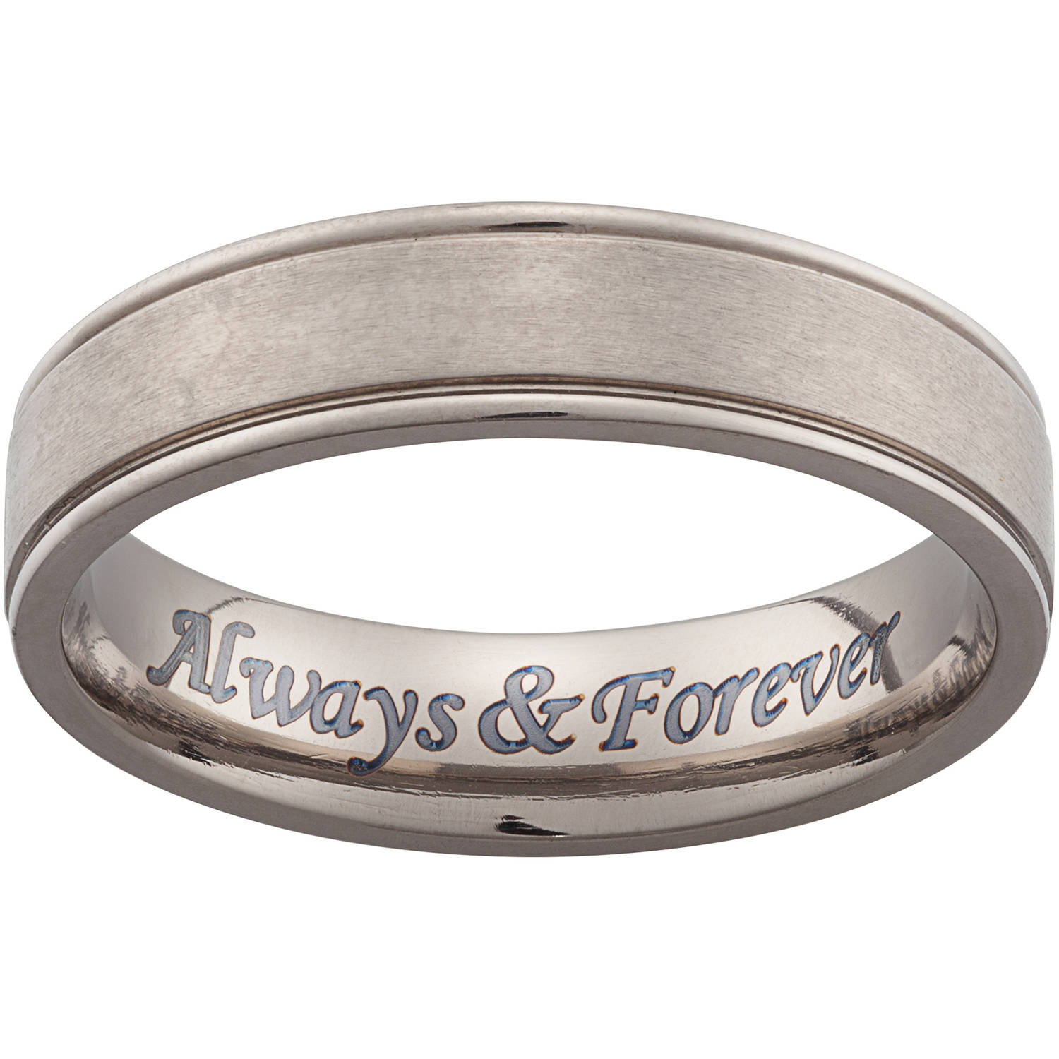 Personalized Men's Titanium Engraved Beveled Band