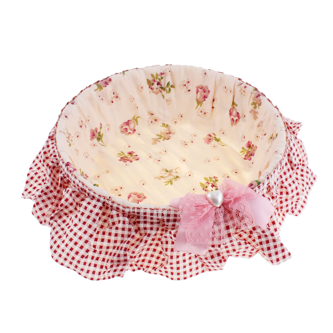 Flower Pattern Jewelry Sundries Handcrafted Storage Basket Holder 21cm Dia Pink