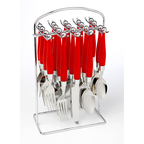 Mainstays 20-Piece Plastic Handle Flatware Set with Caddy