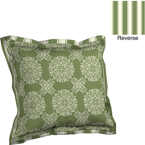 Better Homes and Gardens Deep Seat Pillow Back with Flange Outdoor Cushion, Green Tulip Medallion
