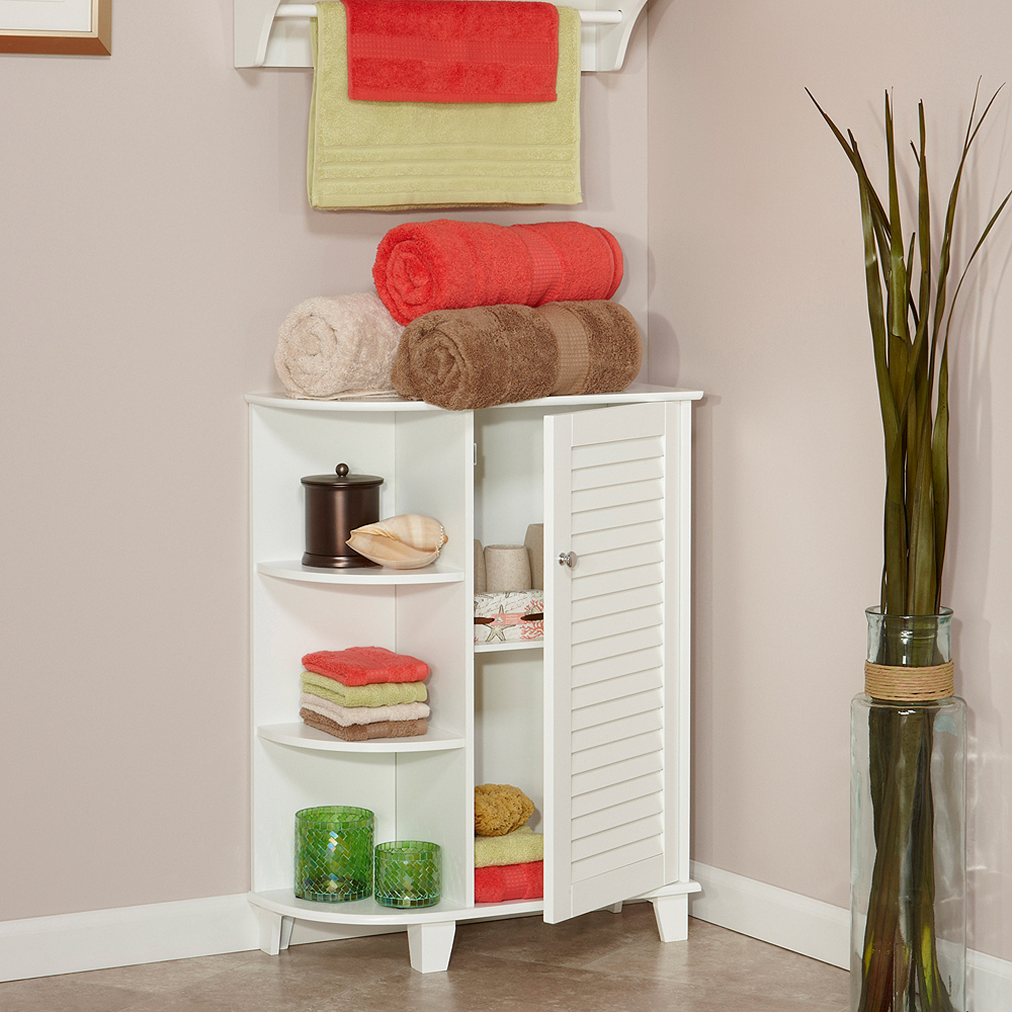 RiverRidge Ellsworth Floor Cabinet with Side Shelves, White