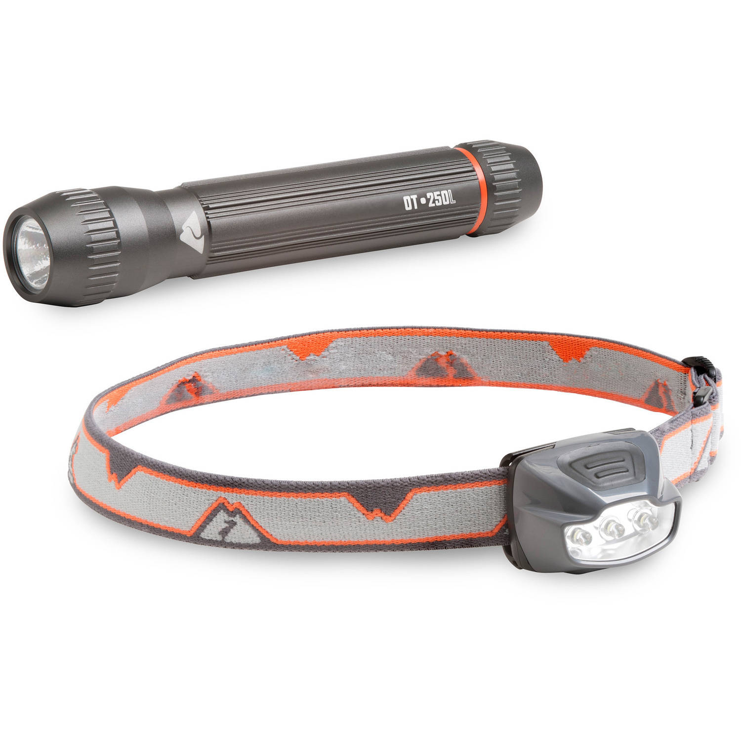 Ozark Trail Headlamp and Flashlight Combo Pack, 50/250 Lumens