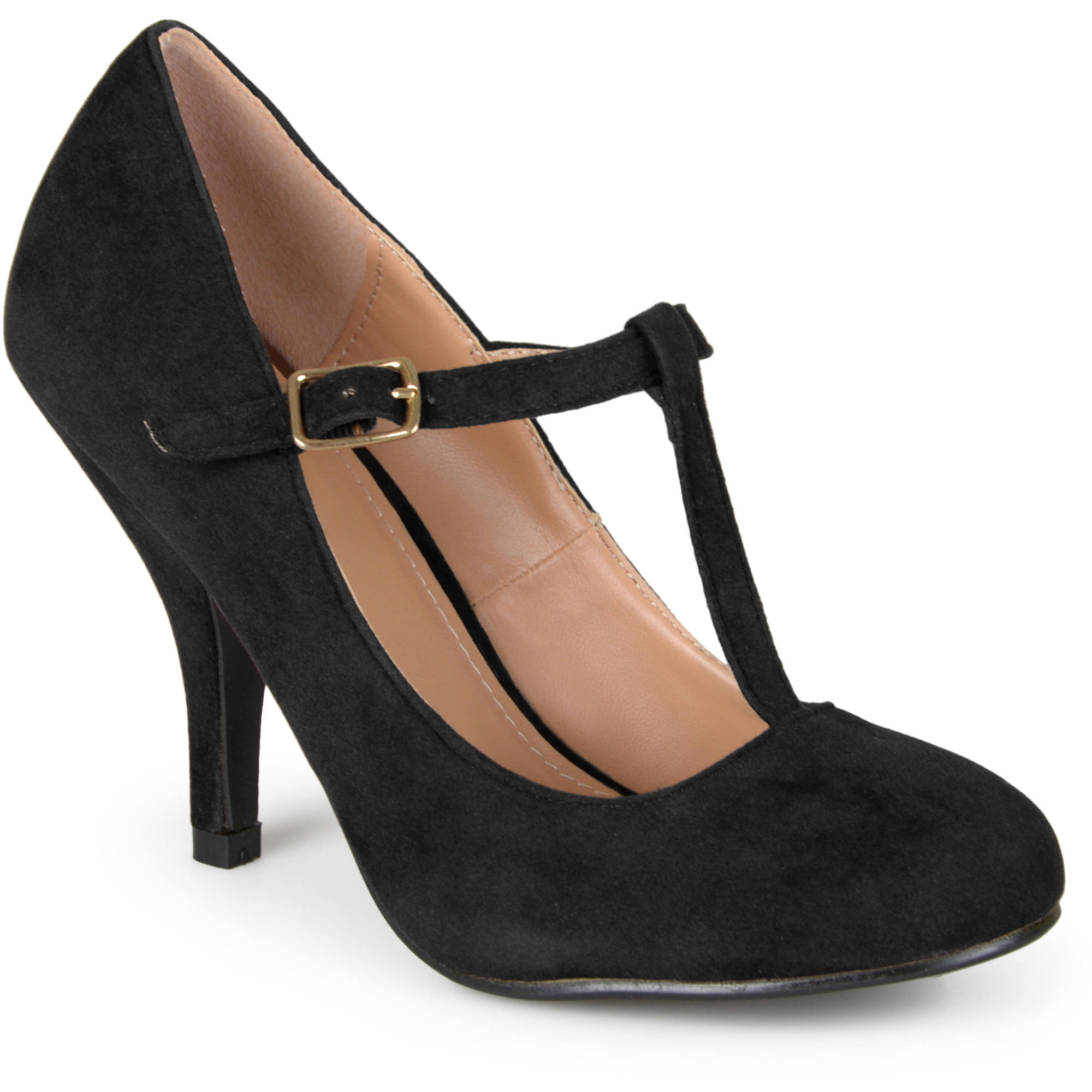 Brinley Co Womens Sueded T-strap Round Toe Pumps