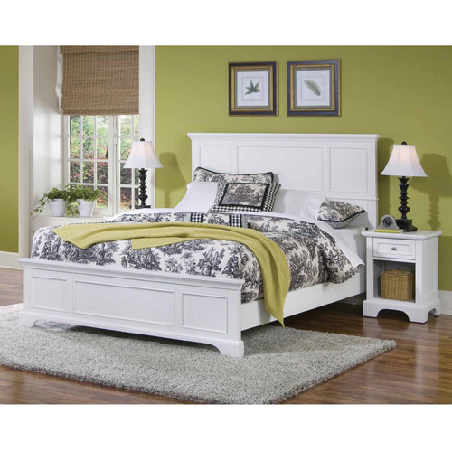 Home Styles Naples Queen Bed and Nightstand, White