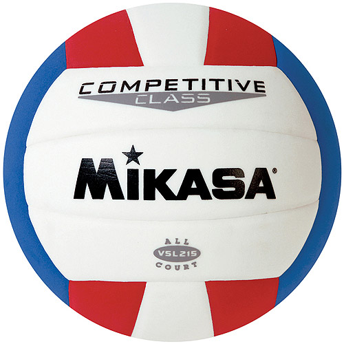 Mikasa VSL215 Competitive Class Indoor/Outdoor Volleyball, Red/White/Blue
