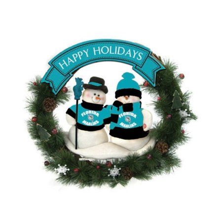 Florida Marlins Official MLB Team Snowman Wreath by SC Sports 047780