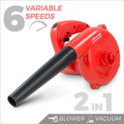 GardenHOME Compact Electric Blower and Vacuum Cleaner with 6 Variable Speed Control, 600 Watts / 16,500 RPM